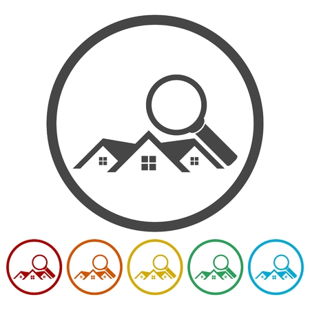 real estate sold: Real Estate vector logo, House search abstract concept icons set