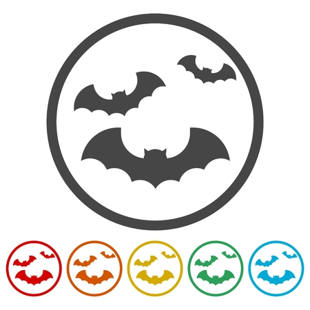 Bat icon sticker set Illustration
