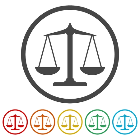 Scales balance icon, Justice Scale Icons set