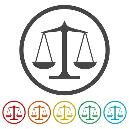 Weegschalen saldopictogram, justitie Schaal Icons set