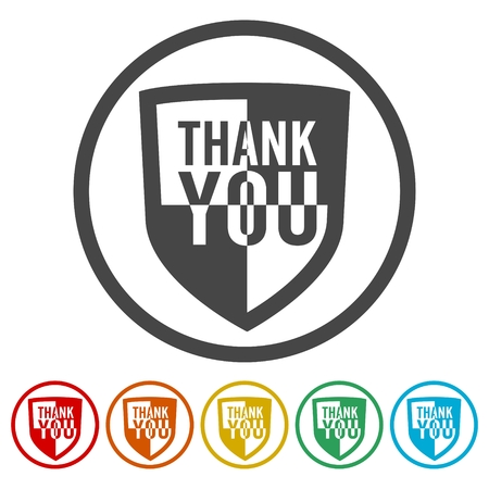 seal of approval: Thank you, Shield sign Illustration