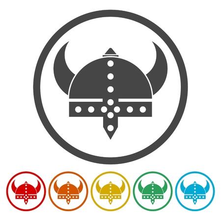 Viking helmet - vector icons set