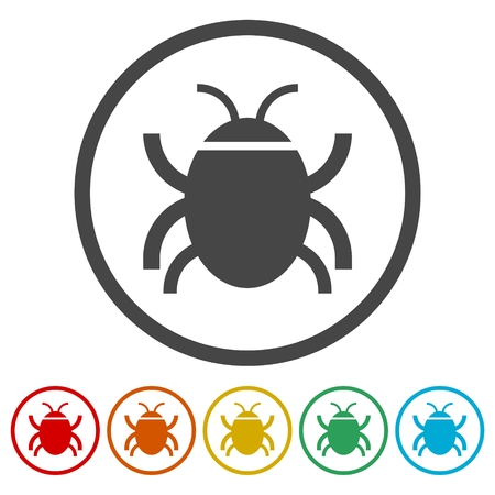 Software bug or program bug icons set Vectores
