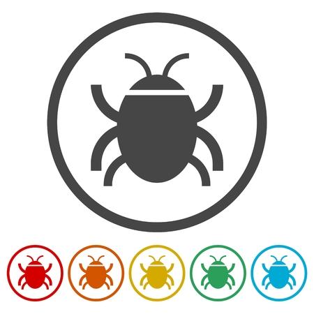 Software bug or program bug icons set Illustration