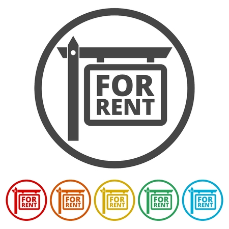 residential homes: For Rent Icons set