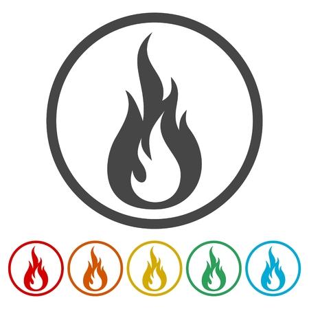 flammable warning: Fire flames, sticker set Illustration