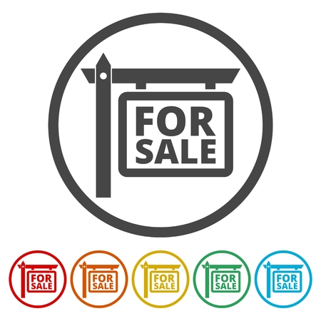 residential homes: For Sale Icons set