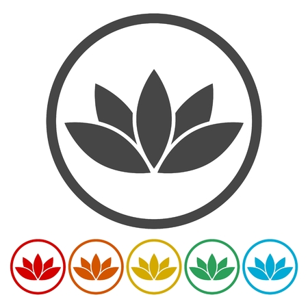 Simple lotus plant, Lotus silhouette icon Illustration