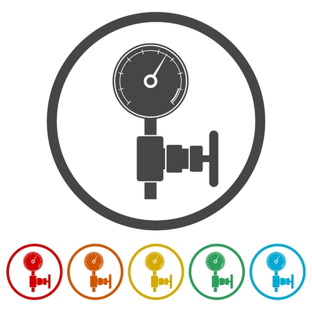 oil and gas industry: Manometer (pressure gauge) and vacuum gauge icon Illustration