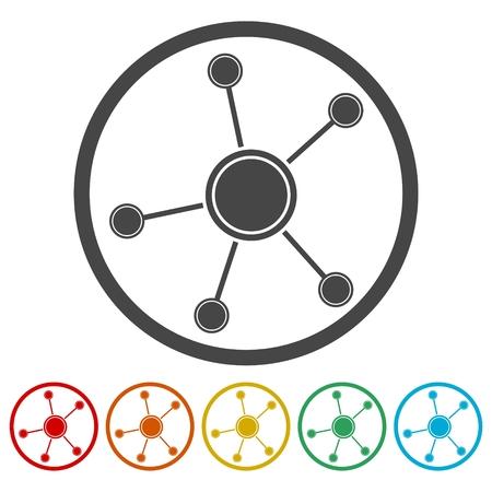 globe grid: Network Icon Illustration