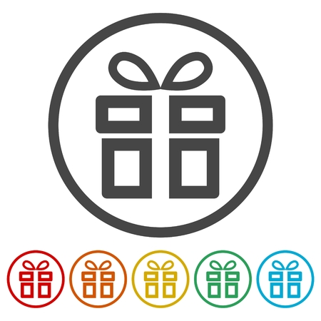 paper background: Gift box line icon Illustration
