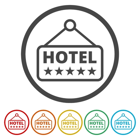 A hotel signboard vector icon on white background.