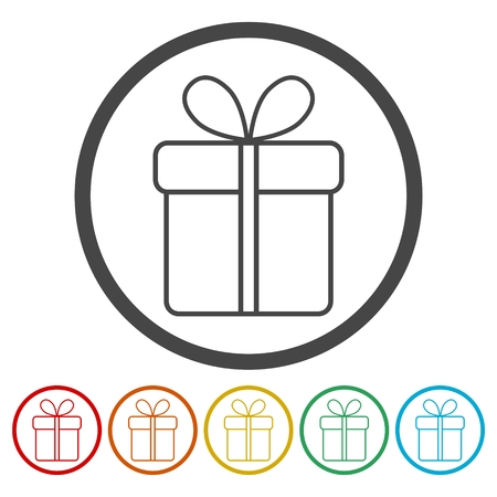 day: A gift box line icon on white background. Illustration