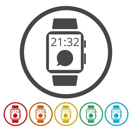 smartphone icon: A smart watch icon on white background. Illustration