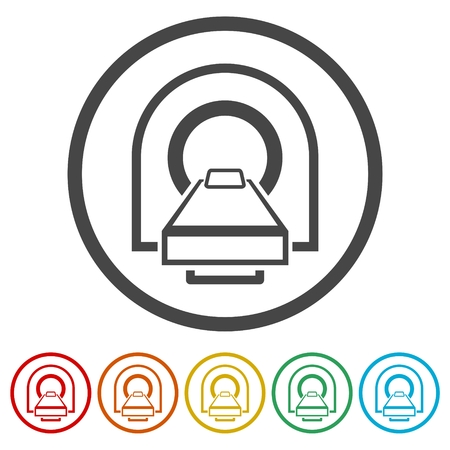 CT scan icon on white background, vector illustration. Illustration