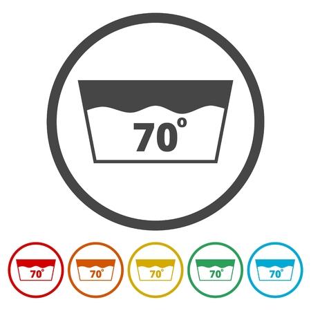 Waschsymbol, waschbar bei 70 Grad Vektorgrafik