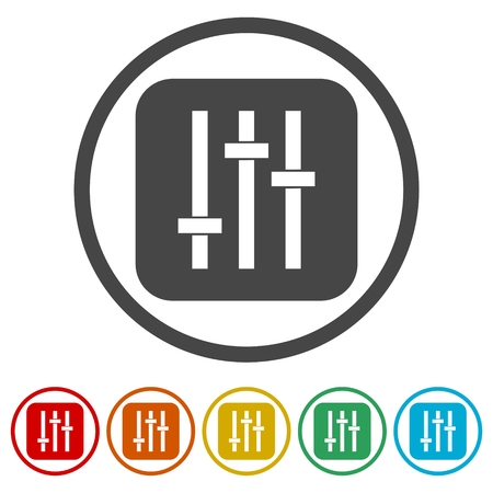 potentiometer: Slider icon. Flat grey iconic symbol in a light blue rounded frame.