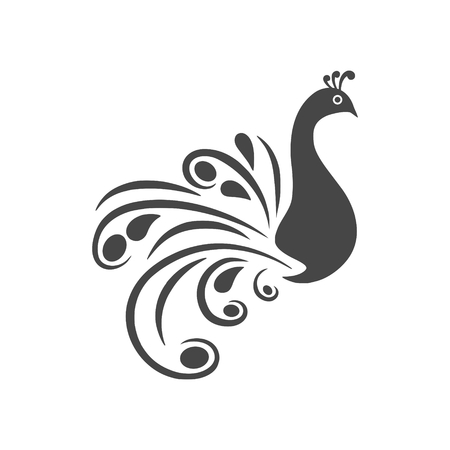 Stylized silhouette of a peacock - vector icon with long shadow