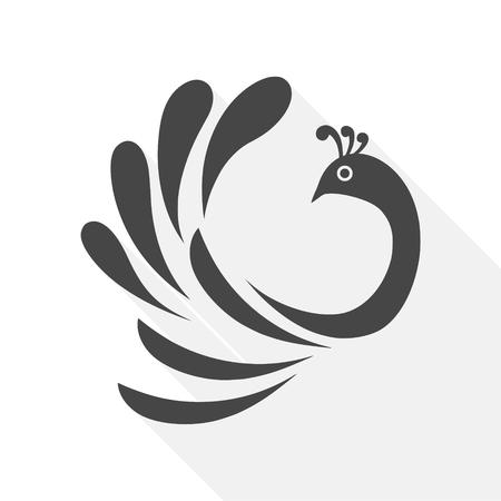 Stylized silhouette of a peacock icon Ilustração