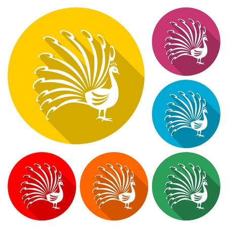 Stylized silhouette of a peacock - vector Illustration with long shadow Иллюстрация