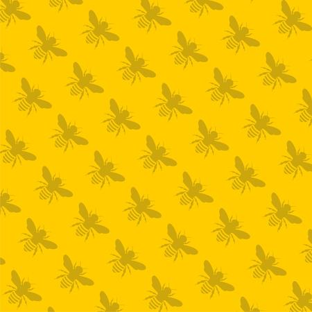 Bee pattern on a yellow backdrop illustration. Illustration