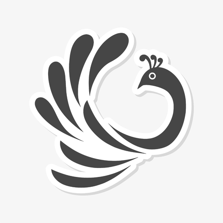 Stylized bird clip-art design sticker. Ilustração
