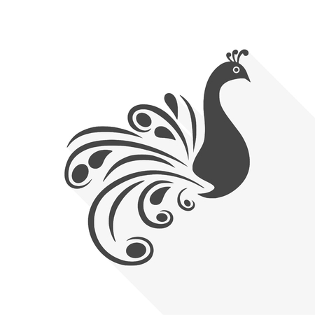 Stylized silhouette of a peacock - vector sticker