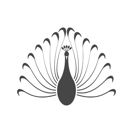 Peacock - vector Illustration with long shadow Ilustração
