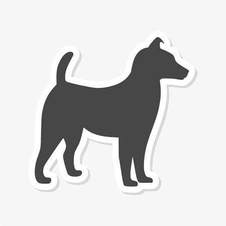 Dog Icon - vector Illustration with long shadow
