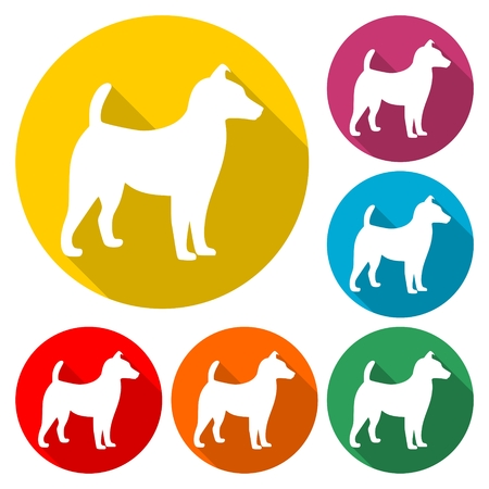Dog Icons set - vector Illustration with long shadow