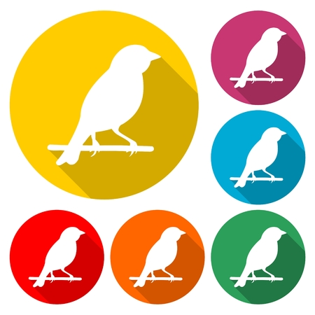 Birds icon - vector Illustration with long shadow Illustration