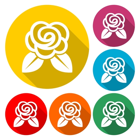 Rose Icon Flat Graphic Design - Illustration with long shadow
