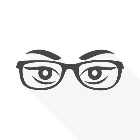 Les yeux de la femme avec des lunettes vecteur - Illustration avec ombre portée Banque d'images - 88773685