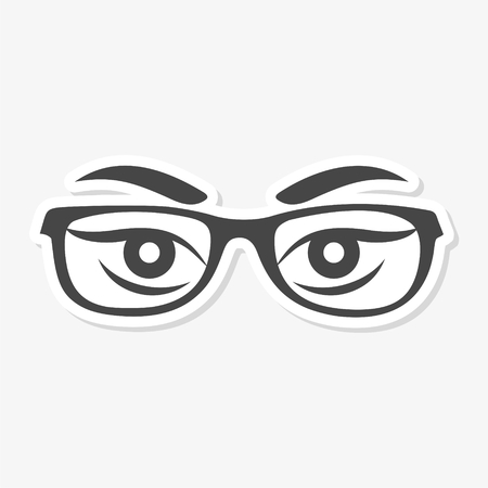Womans eyes with glasses vector sticker - Illustration