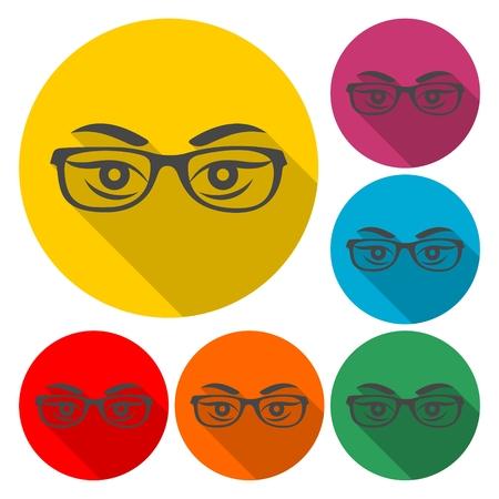 Les yeux de la femme avec des lunettes vecteur - Illustration avec ombre portée Banque d'images - 88773699