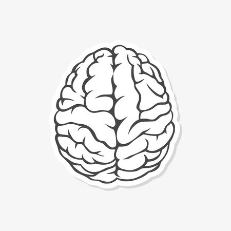 Brain sticker symbol - vector Illustration