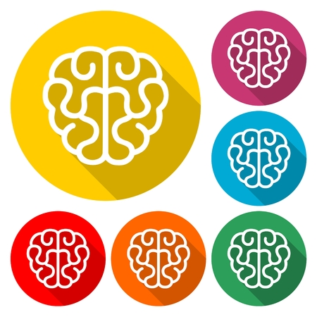Set of human brain icon.