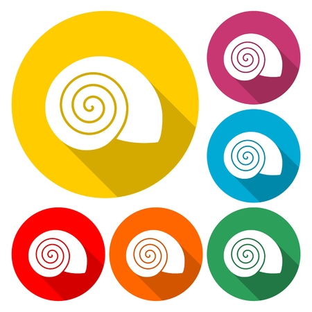 플랫 디자인 간단한 아이콘 - 달팽이 껍질 - 일러스트 레이션