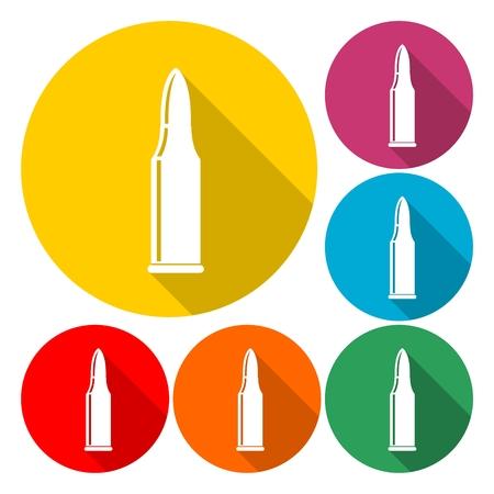 gun holes: Bullet Icon Flat Graphic Design - Illustration Illustration