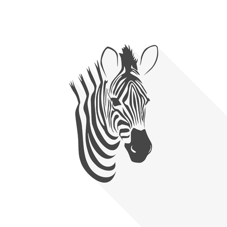 얼룩말 아이콘 평면 그래픽 디자인 - 벡터 일러스트