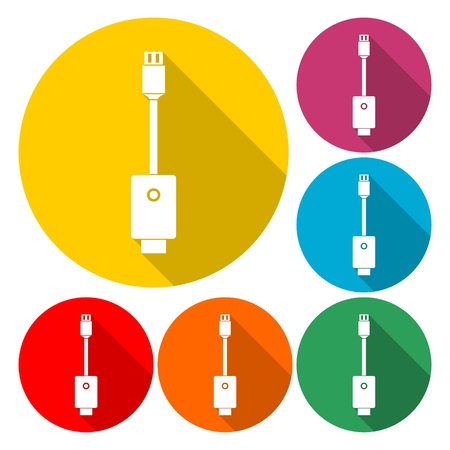USB cable icon - vector Illustration with long shadow