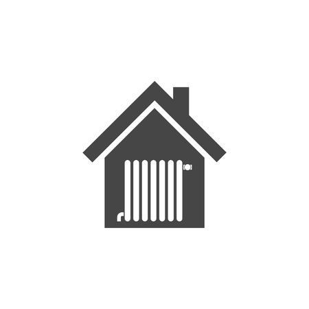 grille: Radiator in house icon - vector Illustration with long shadow
