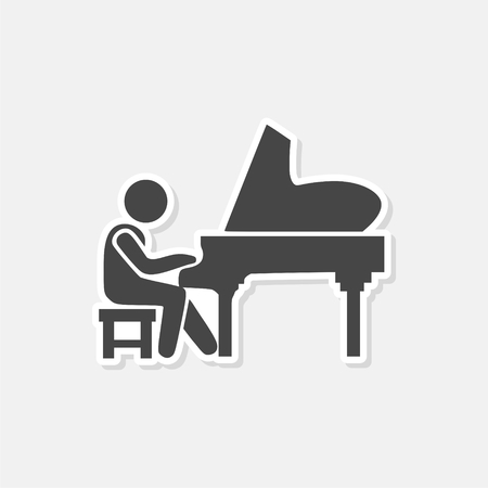 Playing the piano - vector - Illustration