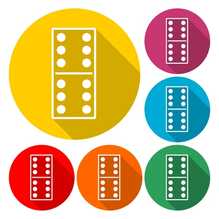 Dominoes vector icon - Illustration with long shadow