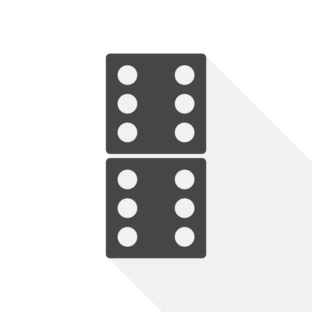 Illustratie van het domino's de vectorpictogram met lange schaduw