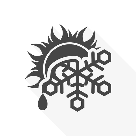 Sun and melting snowflake icon