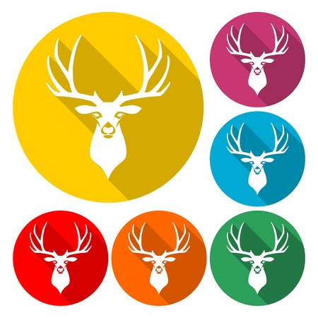 Deer head illustration vector icon with long shadow