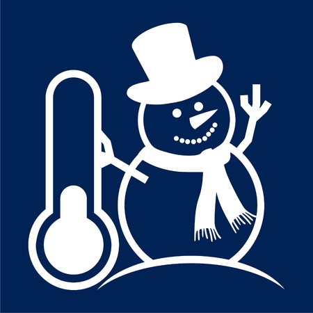 Vector icono de muñeco de nieve y termómetro - Illustración libre de derechos Foto de archivo - 89748521