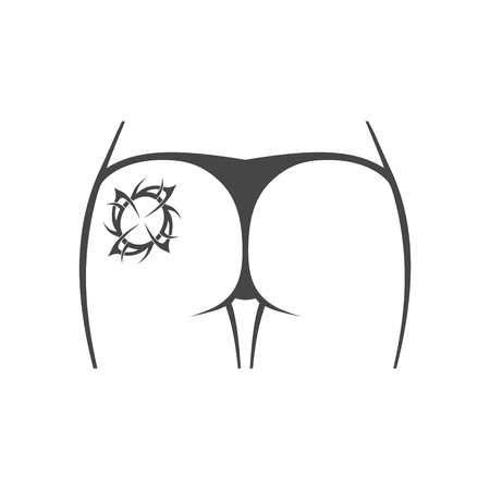 Female butt with tattoo icon
