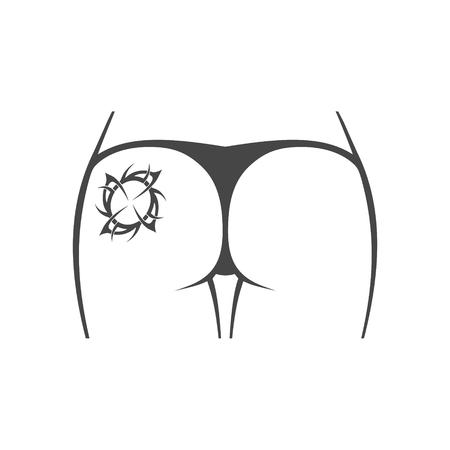 Vrouwelijke kont met tatoeage pictogram